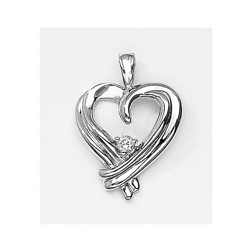 Beautiful heart pendant with a bright .05 ct diamond set in 14k white gold.