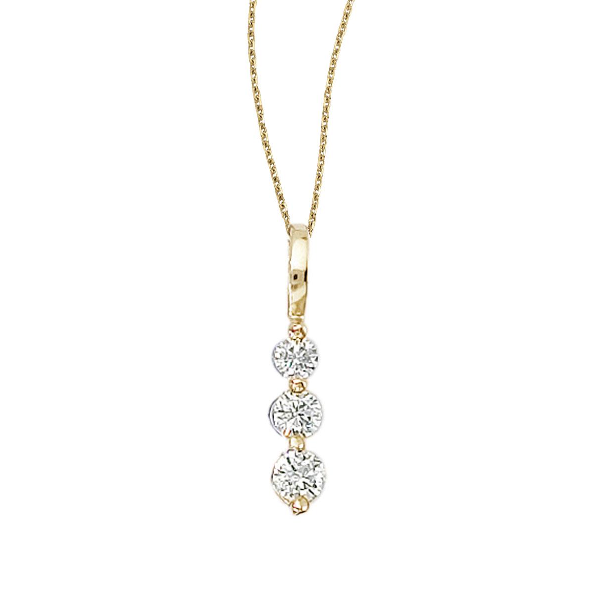This 14k yellow gold 0.25 ct three stone diamond pendant features gorgeous sparkling diamonds in ...