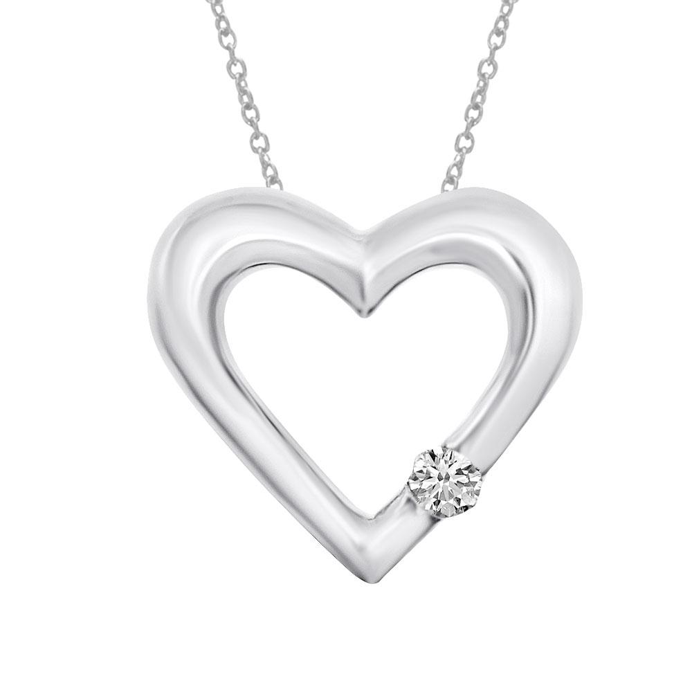 14k white gold open heart pendant diamond pendant (.07 ct).
