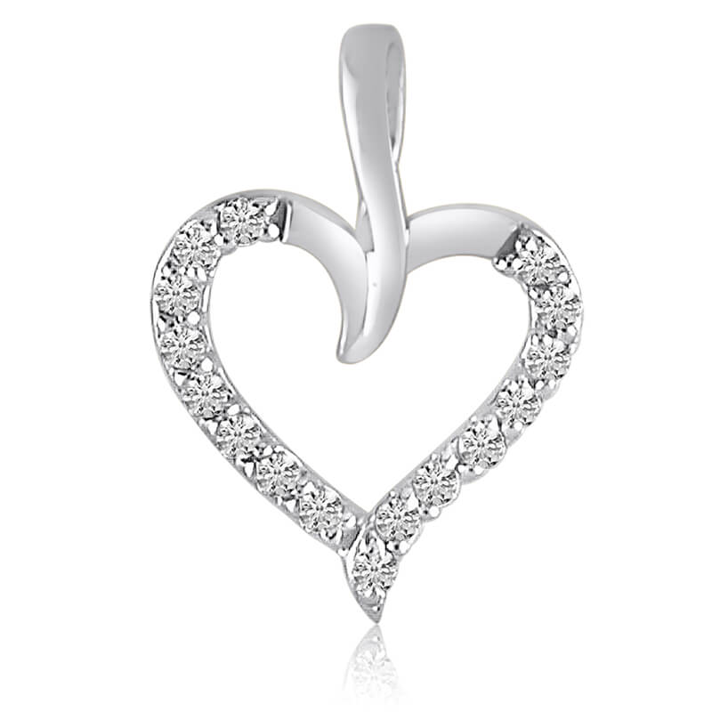 .25 total ct diamonds set in a beautiful 14k white gold heart pendant.