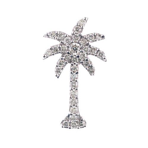 .50 ct diamond palm tree shaped pendant set in 14k white gold.