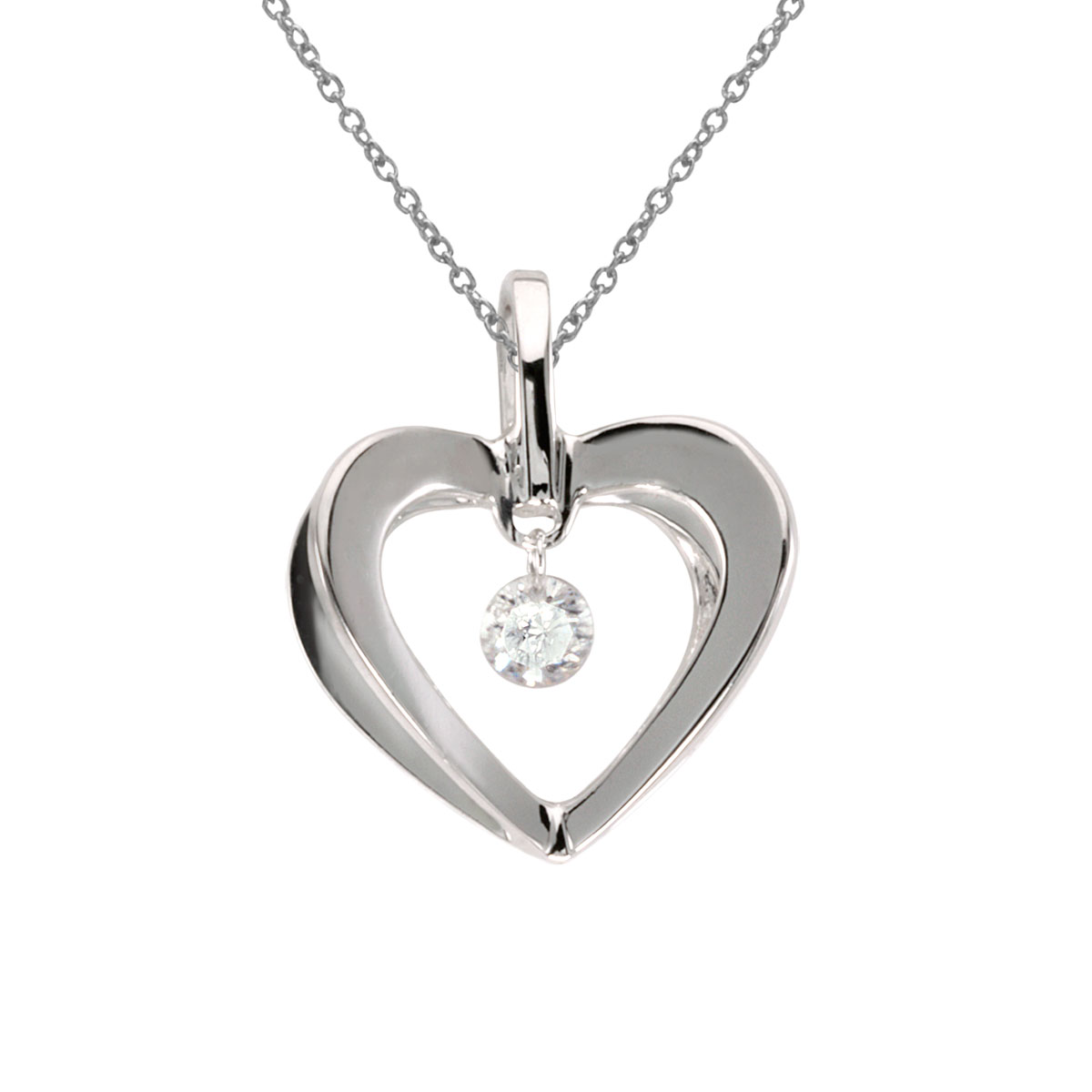 A stunning heart shaped pendant set in 10k white gold complemented with a shimmering .10 ct diamo...