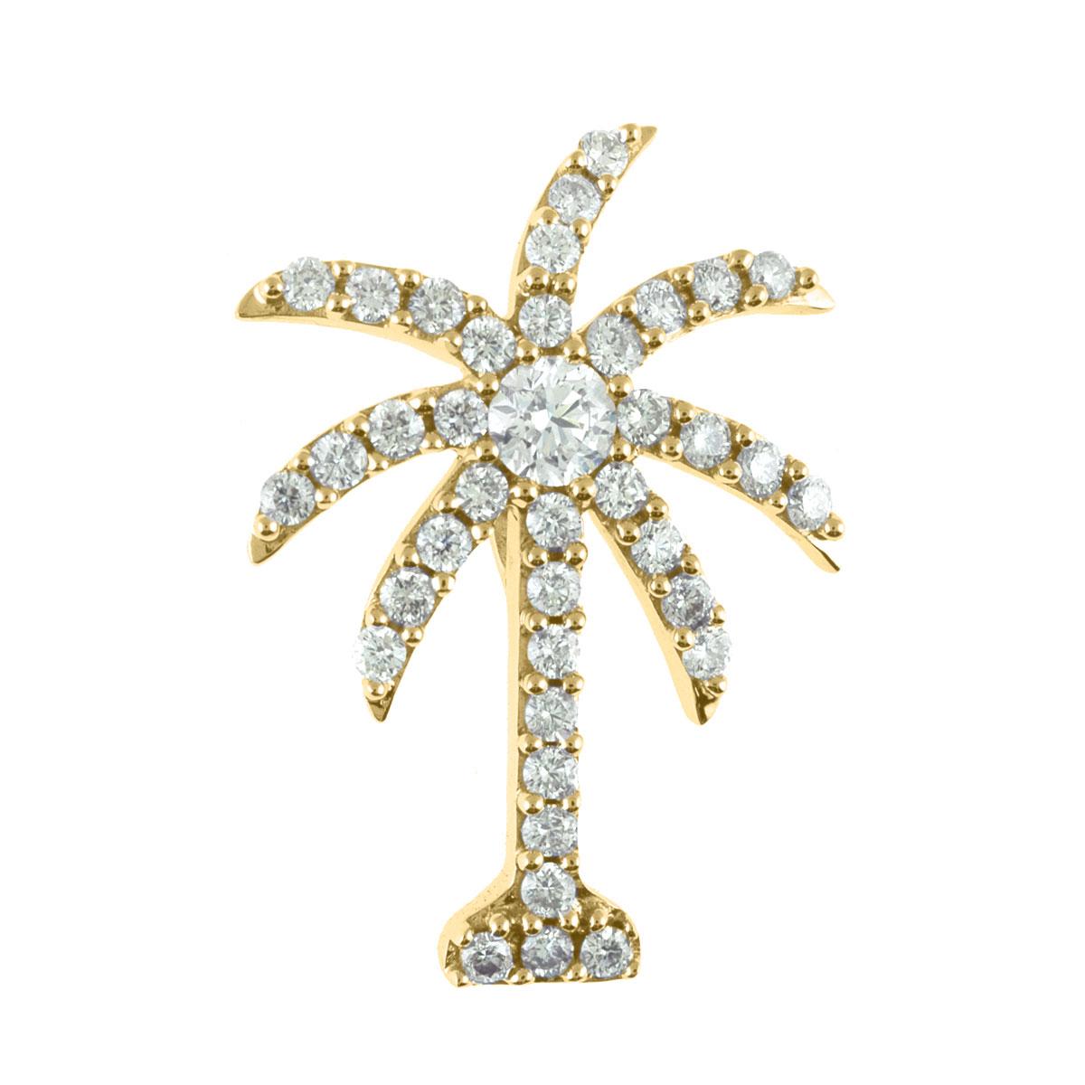 1.00 ct diamond palm tree shaped pendant set in 14k yellow gold.