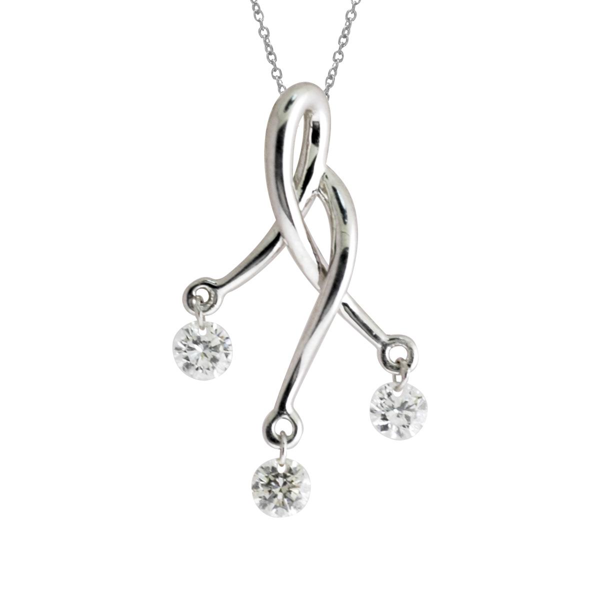 14k gold Dashinng Diamonds pendant with 0.24 total ct diamonds. The center dangling diamond dance...