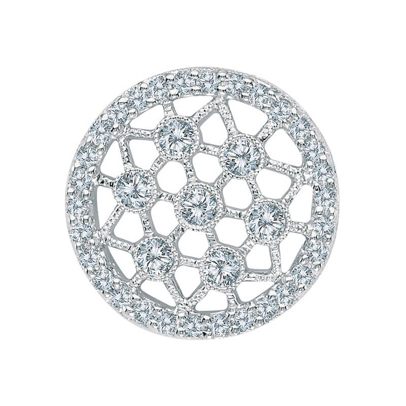 This beautiful round 14k white gold pendant features .59 carats of bright diamonds set in a class...