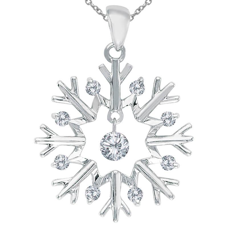 14k gold Dashinng Diamonds pendant with 0.16 total ct diamonds. The center dangling diamond dance...