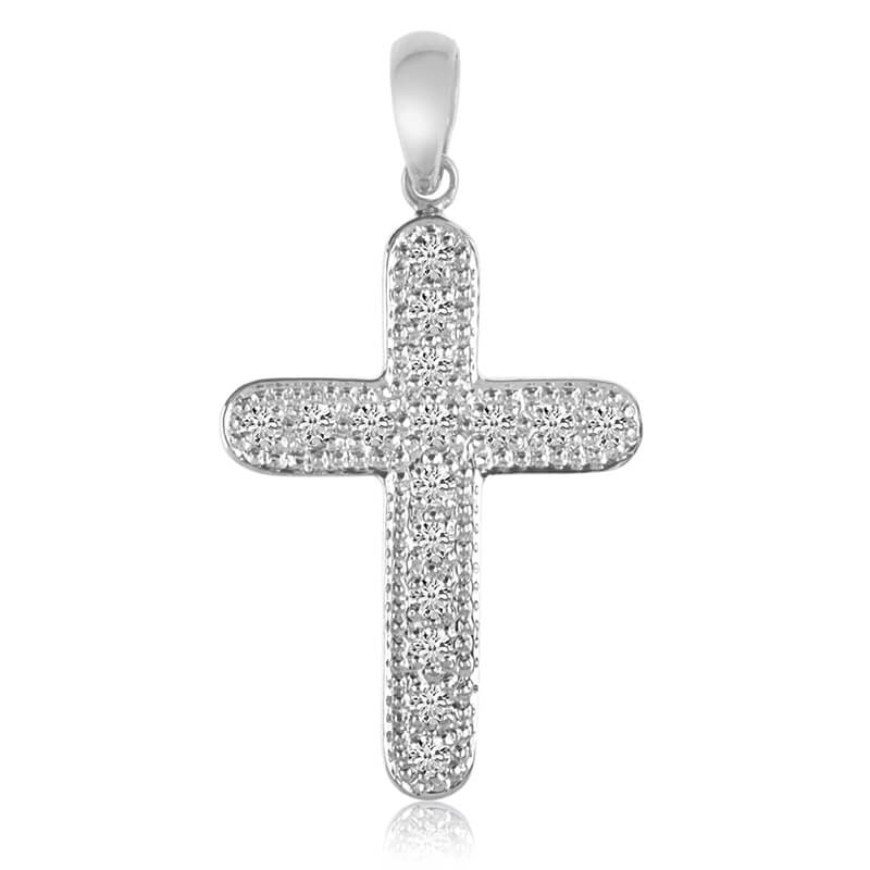 A bold and dashing 14k yellow gold cross with .24 total ct diamonds.