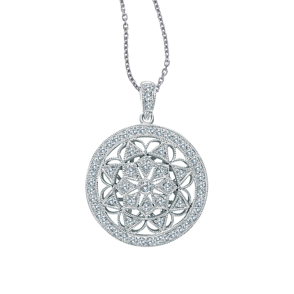 This  sophisticated 14k white gold pendant features a classically beautiful design and is covered...