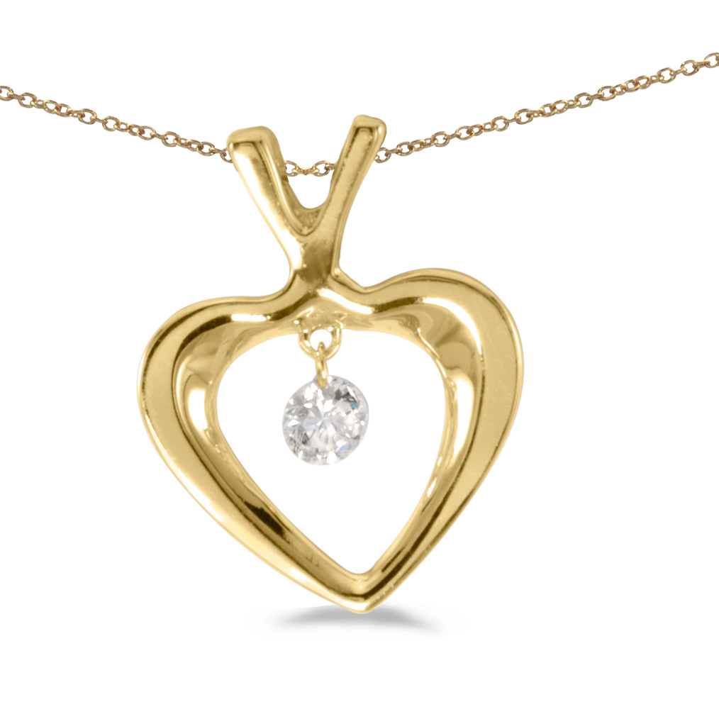 14k gold Dashinng Diamonds pendant with 0.10 total ct diamonds. The center dangling diamond dance...