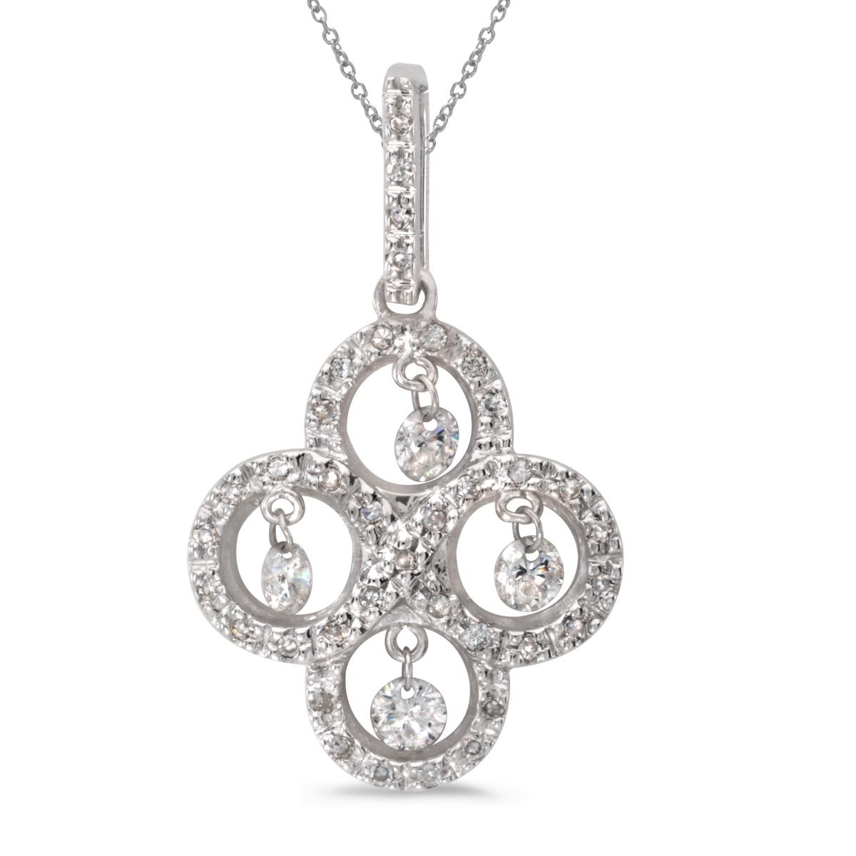 14k gold Dashinng Diamonds pendant with 0.43 total ct diamonds. The center dangling diamond dance...