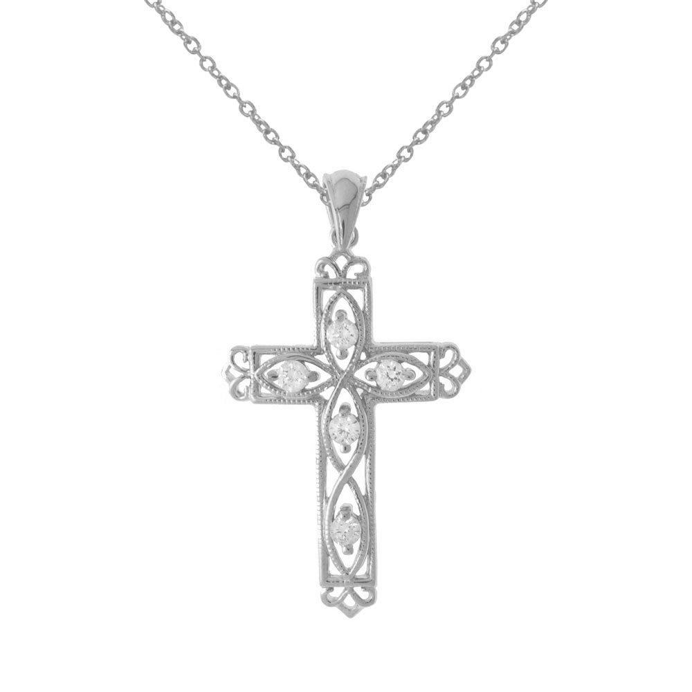 A beautifully designed filigree cross dazzling with .25 ct diamonds in 14k white gold.