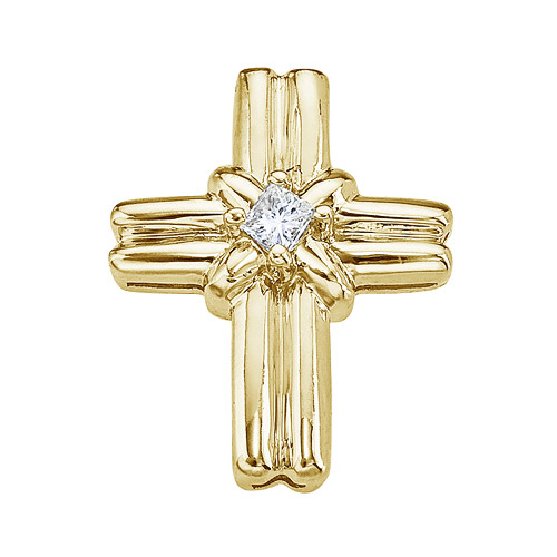 Wide 14k yellow gold cross with a dazzling princess cut center diamond.