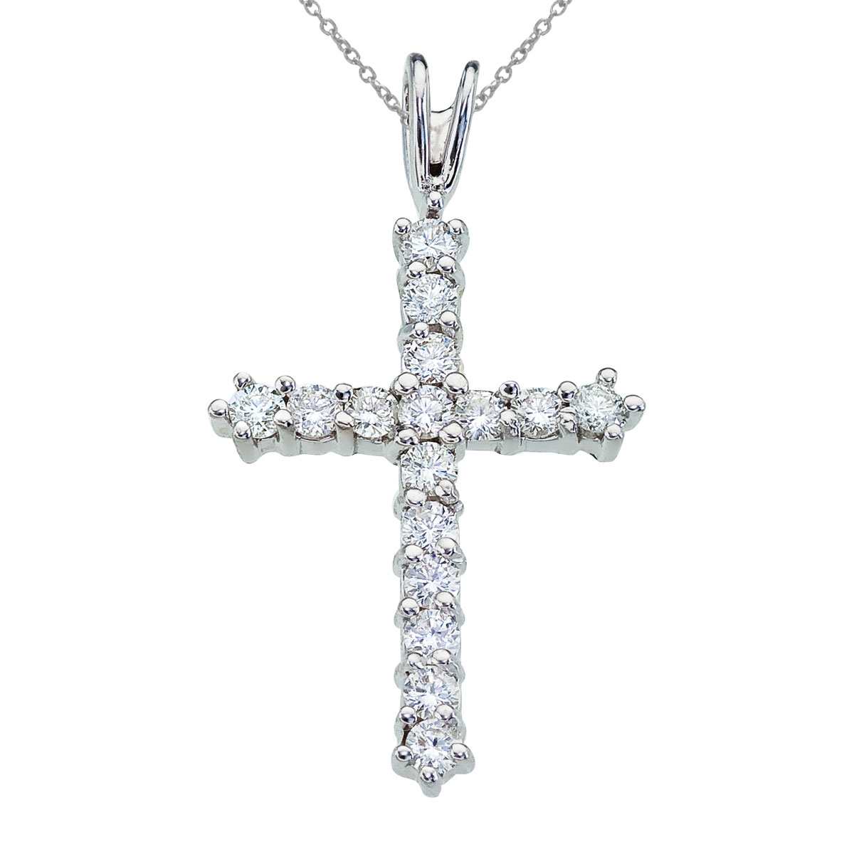 14k white gold cross with shimmering .50 total ct diamonds.