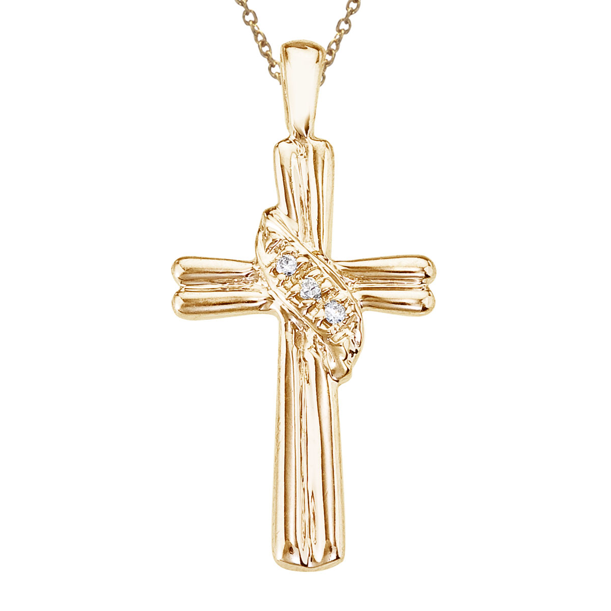 14k yellow gold cross with shimmering diamond accents. A beautiful and fashionable design.