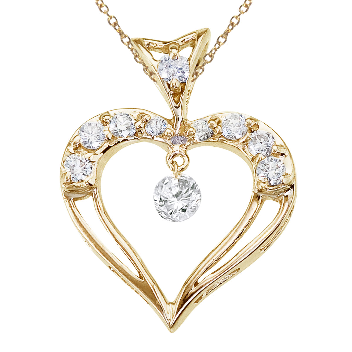 14K Yellow Gold Dashing Diamond Heart Pendant Watch as the diamonds dangle  glitter and sparkle in the setting!