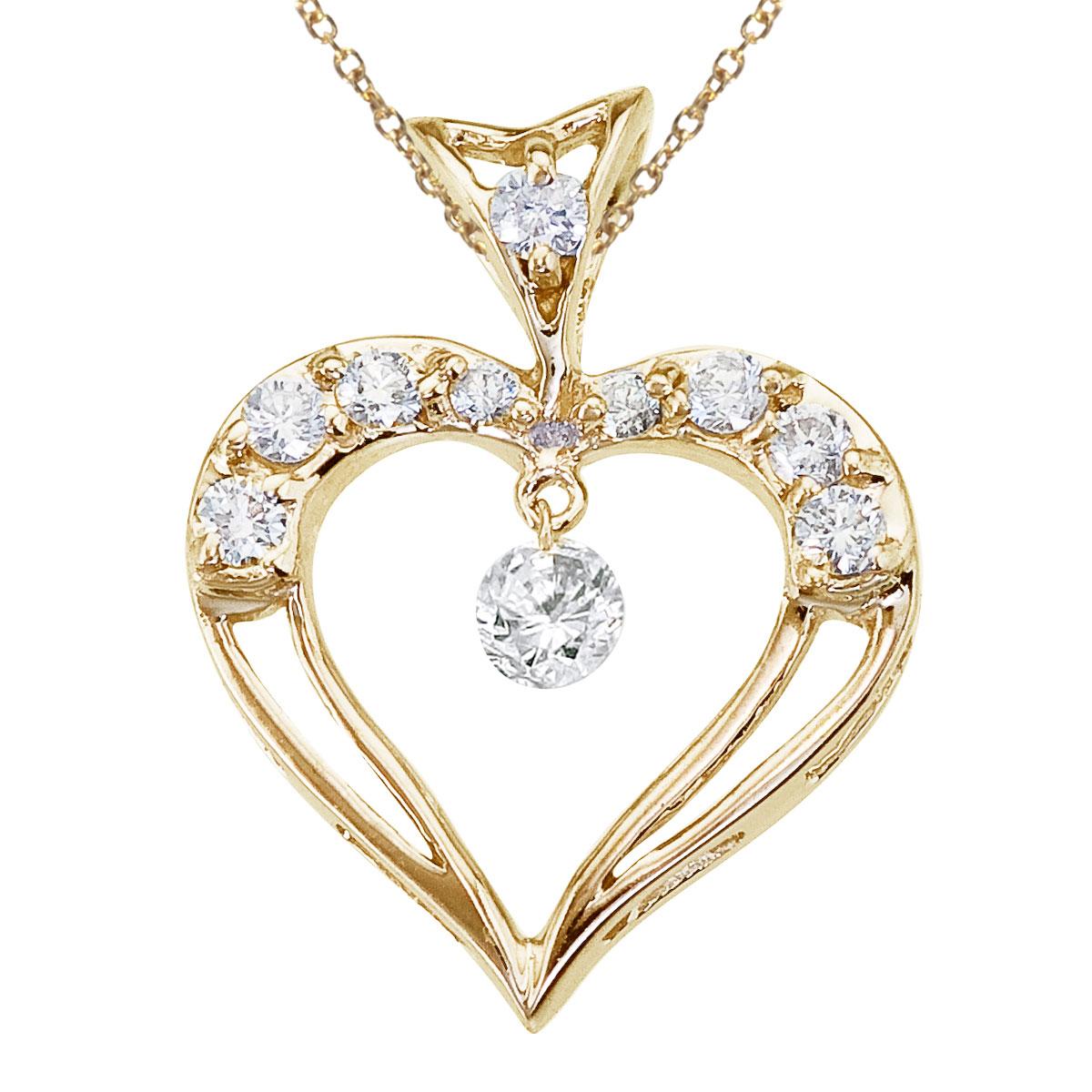 JCX2947: 14K Yellow Gold Dashing Diamond Heart Pendant Watch as the diamonds dangle  glitter and sparkle in the setting!