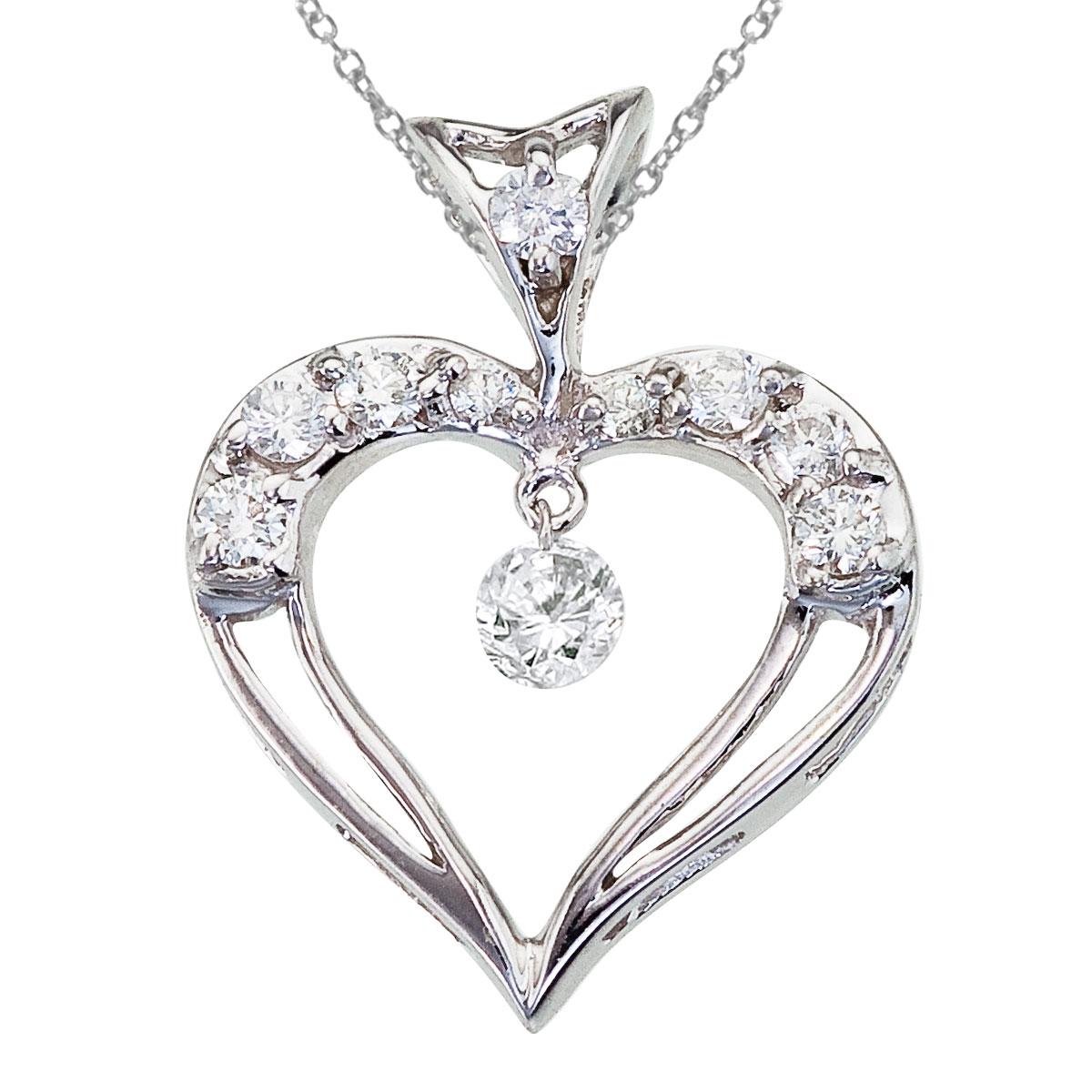JCX2948: 14K White Gold Dashing Diamond Heart Pendant Watch as the diamonds dangle  glitter and sparkle in the setting!