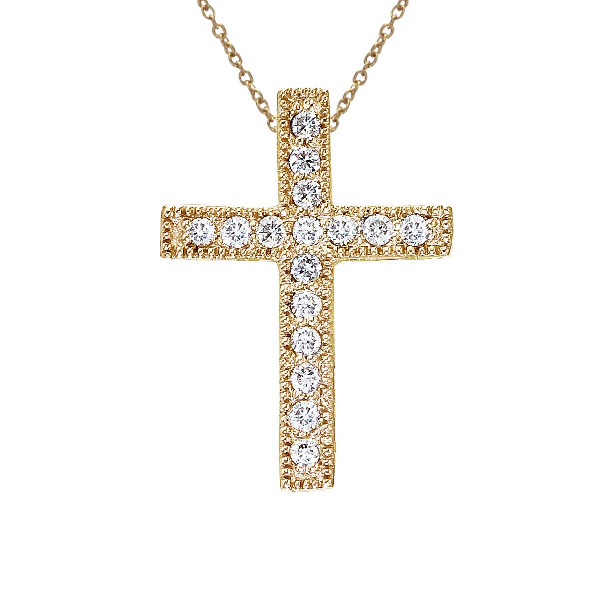.16 ct diamond cross pendant set in 14k yellow gold.