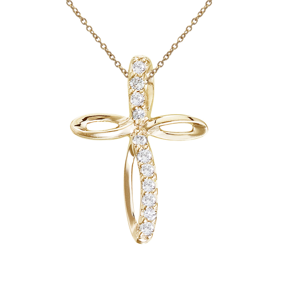 14k yellow gold cross pendant with shimmering diamonds.