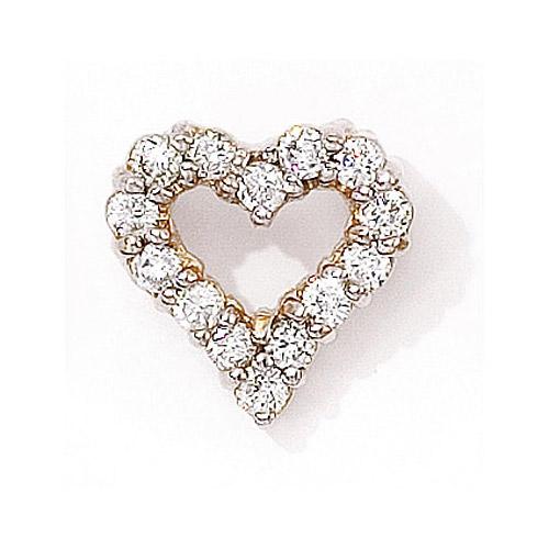 .75 ct diamond heart pendant in 14k yellow gold.