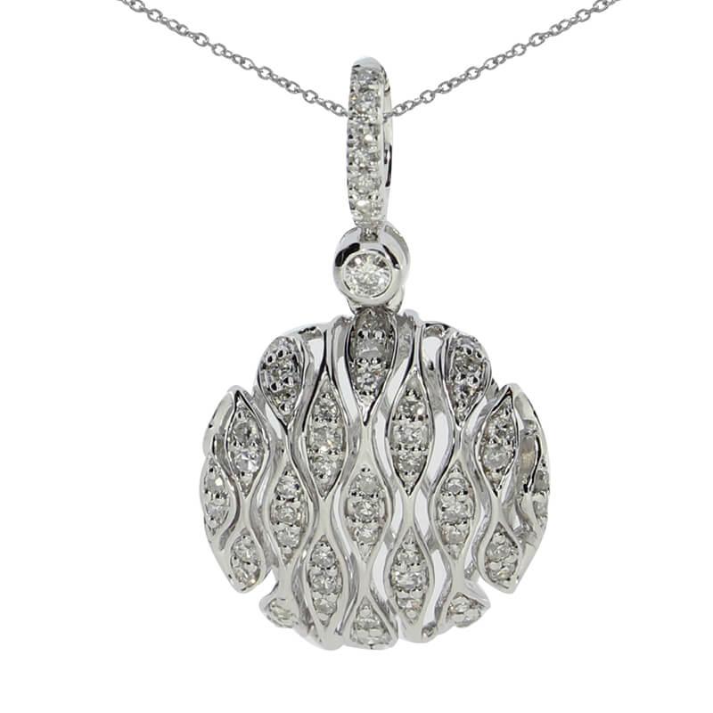 .25 ct diamond pendant set in 14k white gold.