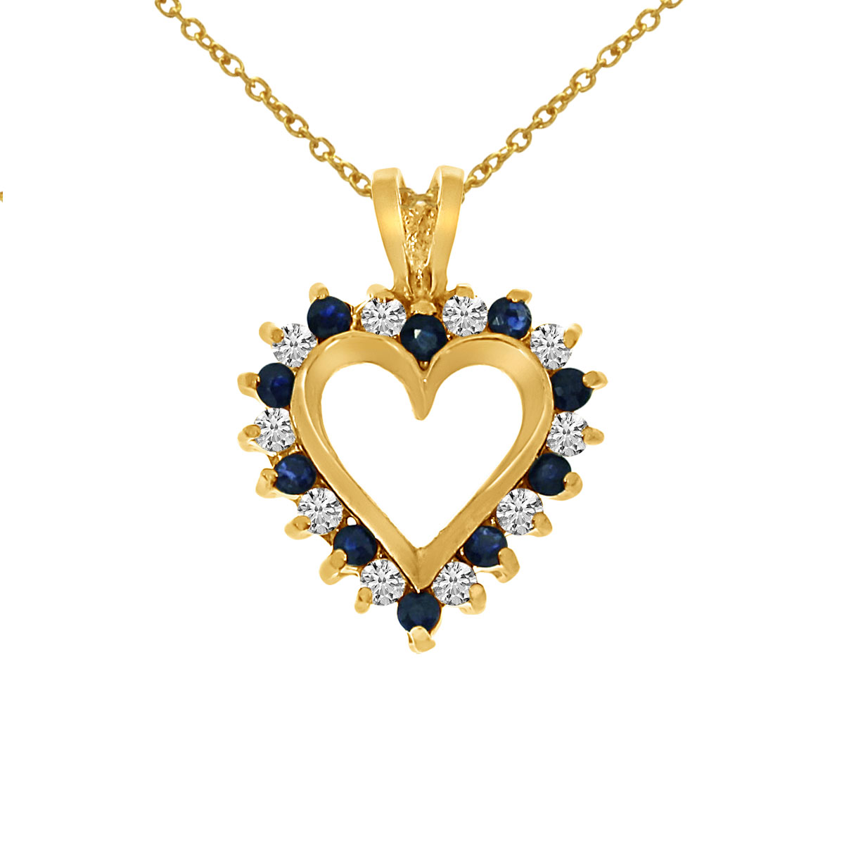 A dazzling 14k yellow gold heart pendant surrounded by .25 carats of shimmering diamonds and .25 ...