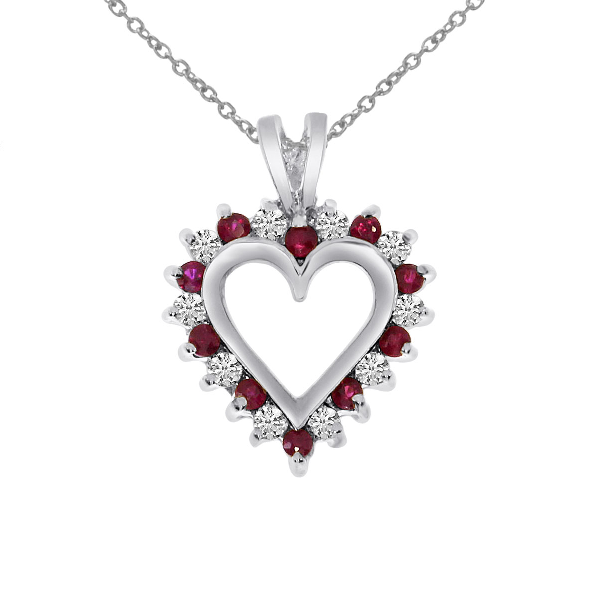 A dazzling 14k white gold heart pendant surrounded by .25 carats of shimmering diamonds and .25 c...