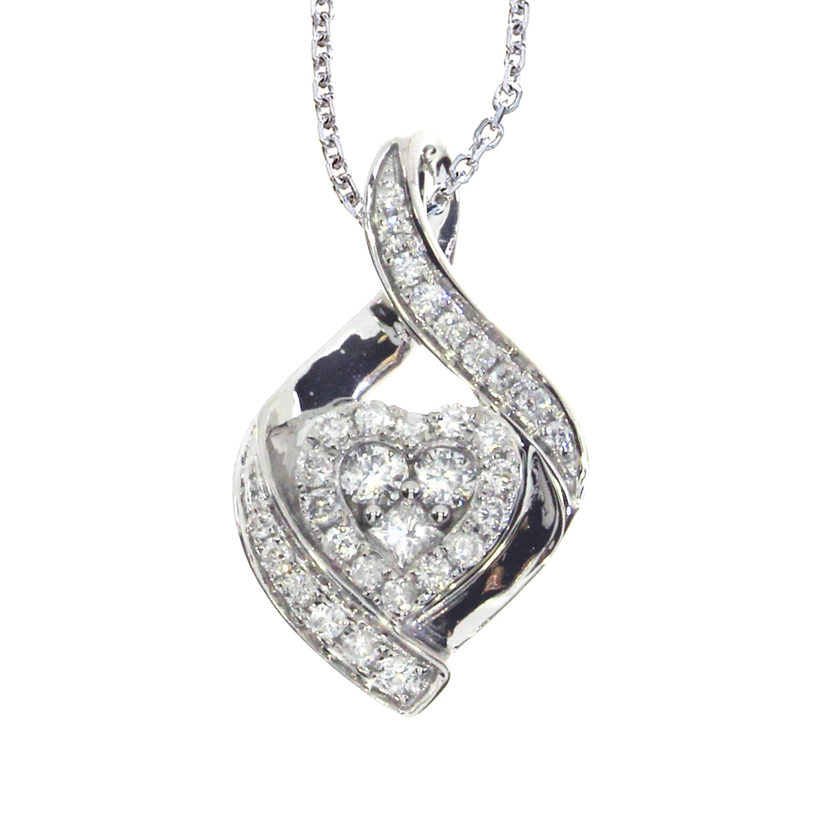 Beautiful shimmering 14k white gold heart shaped pendant covered in .37 carats of genuine bright diamonds.