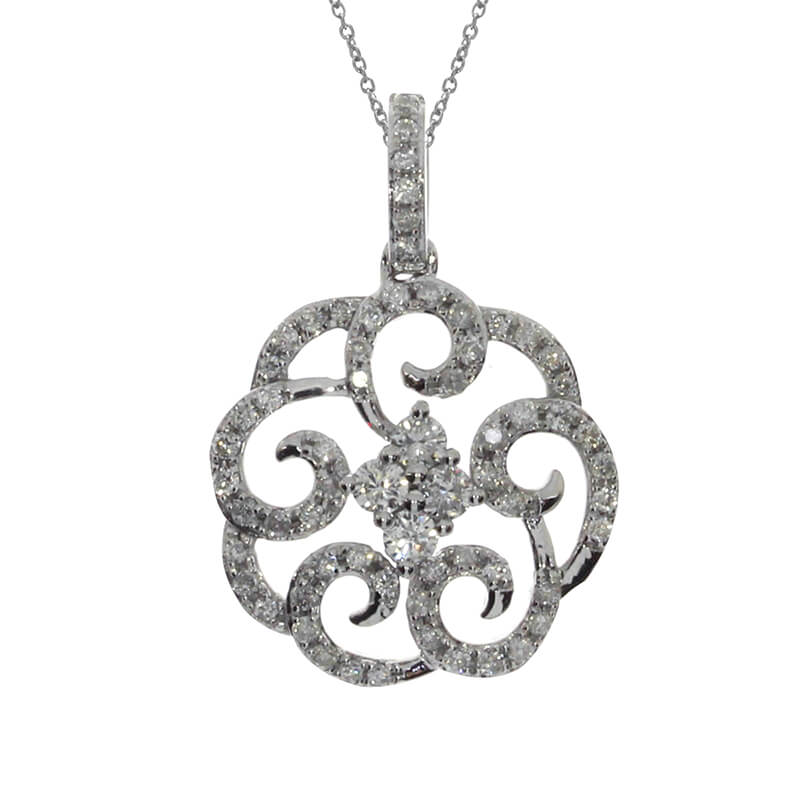 Swirling diamonds and 14k white gold will mesmerize with .32 total carat weight.