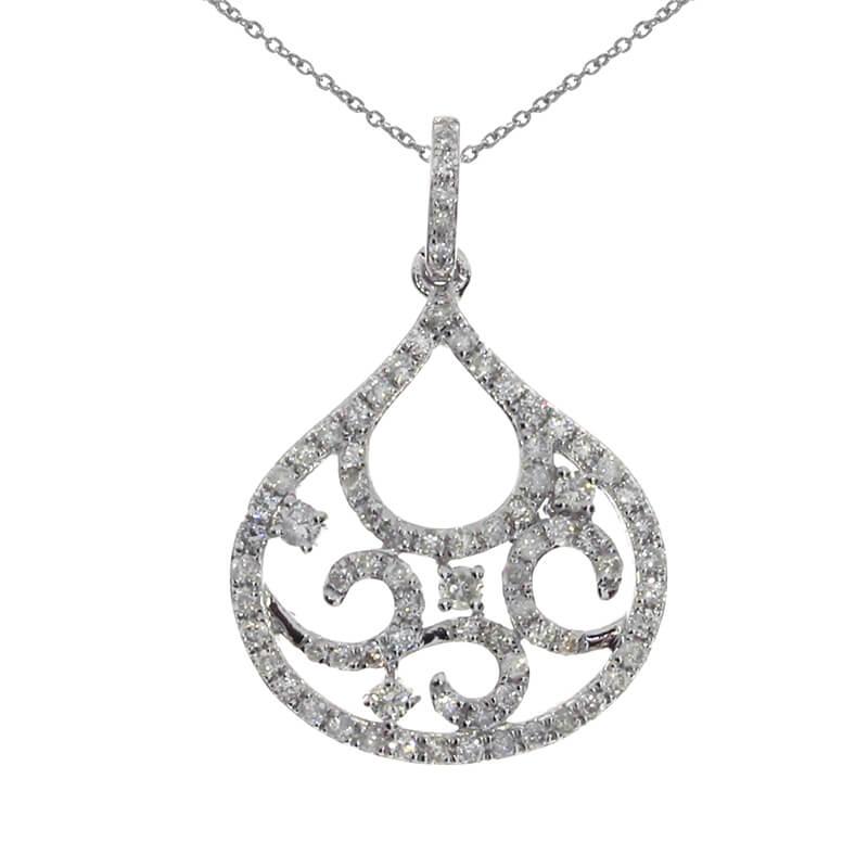 Like a drop of fresh rain covered in .42 total carat diamonds. A beautiful fashion pendant to sui...