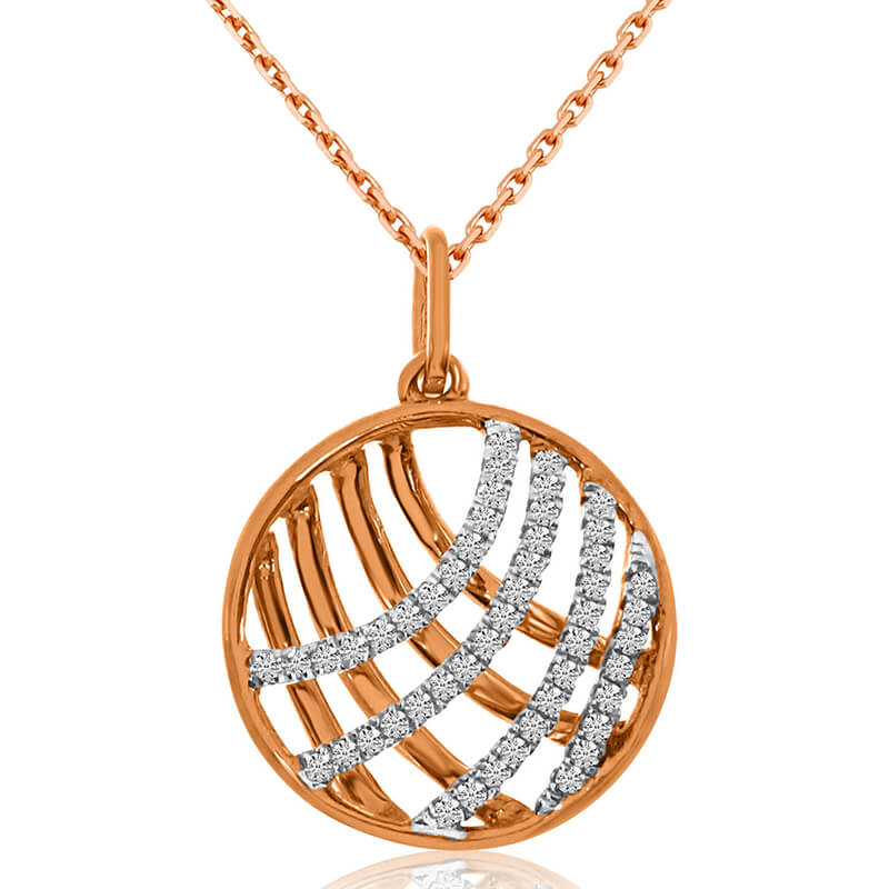 14k Rose Gold 0.15ctw Round Shape Diamond Pendant