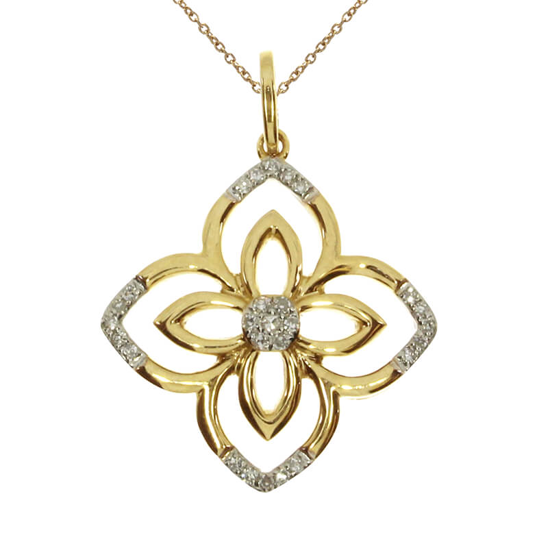 A floral inspired pendant in 14k yellow gold with flashy diamonds.
