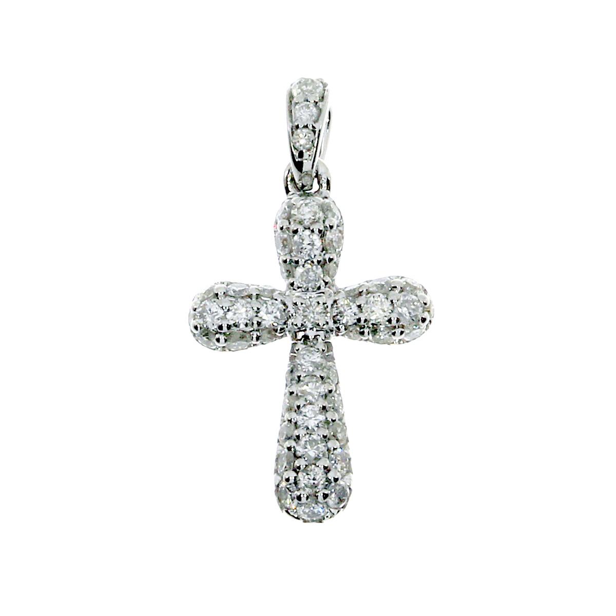 14k white gold cross pendant with shimmering diamonds.
