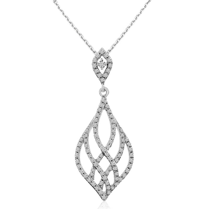 Linear diamond pendant in modern drop shape and 14k white gold will mesmerize with .28 total cara...