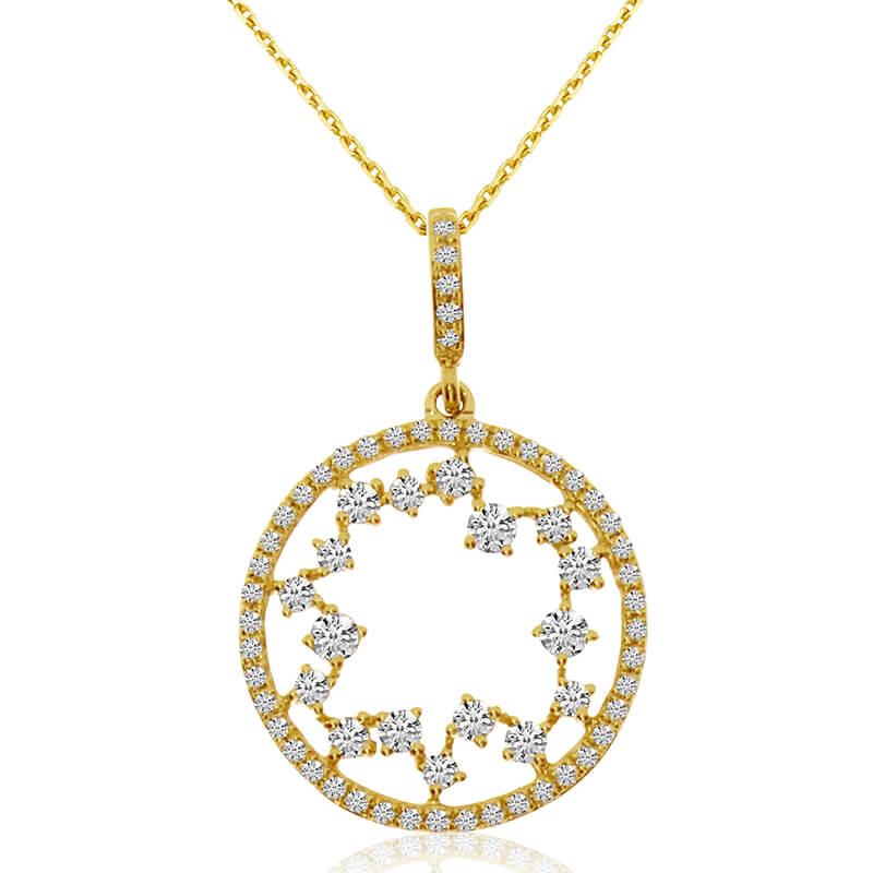 14k Yellow Gold Starburst Diamond Fashion Pendant