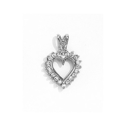 .25 carats of brilliant diamonds surround a 14k white gold heart.
