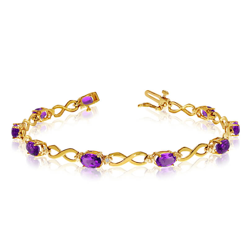 This 14k yellow gold oval amethyst and diamond bracelet features nine 6x4 mm stunning natural ame...