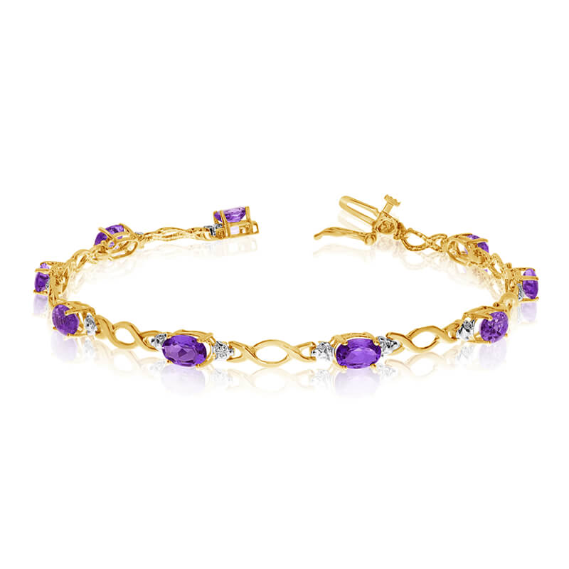 This 10k yellow gold oval amethyst and diamond bracelet features ten 6x4 mm stunning natural amet...