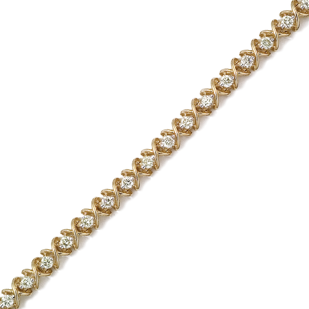 14K Solid Yellow Gold ''X&O'' Round Diamond Bracelet with 3.00ctw of Natural Roun...
