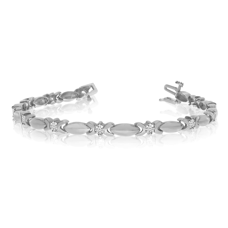 14k White Gold Bar Diamond Tennis Bracelet