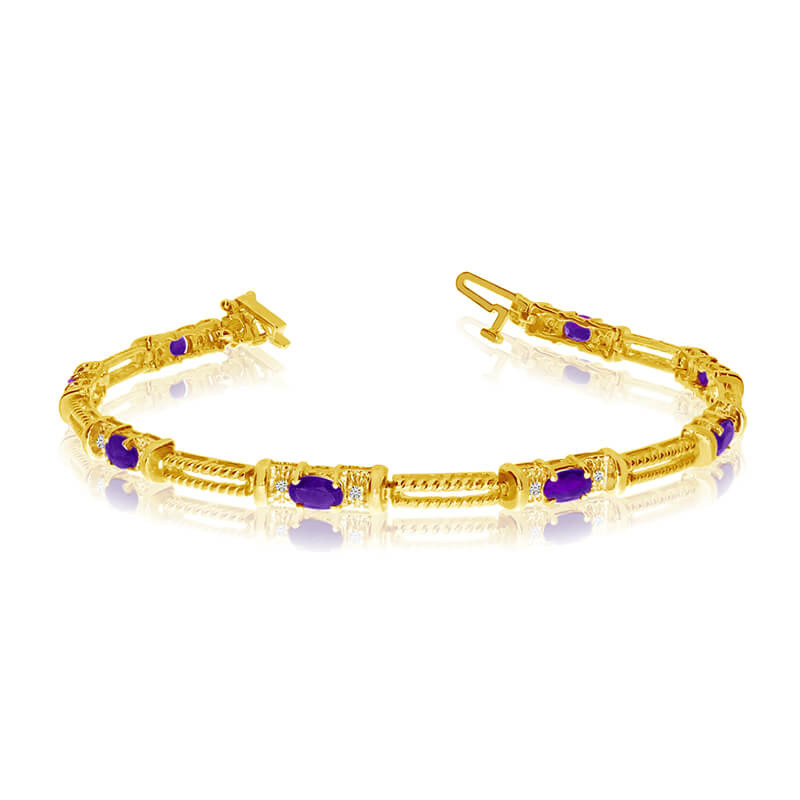 This 14k yellow gold natural amethyst and diamond tennis bracelet features 8 oval amethysts with ...