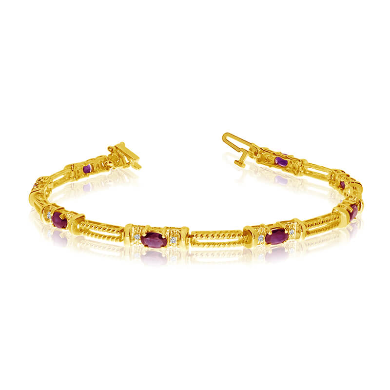 This 14k yellow gold natural ruby and diamond tennis bracelet features 8 oval rubys with a total ...