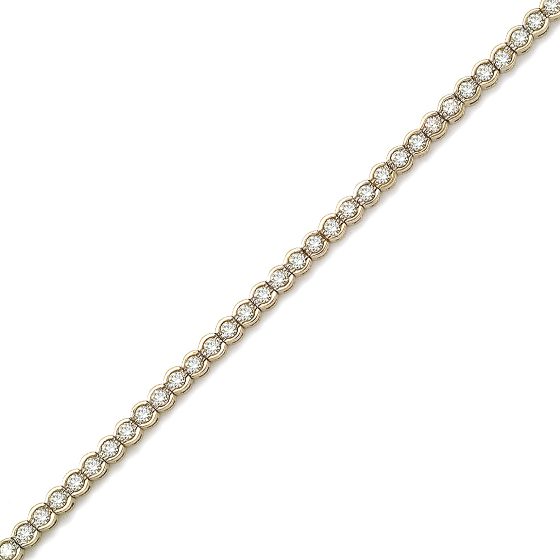 14K solid yellow gold tennis bracelet with natural round diamonds.  3.00 carat total weight of di...