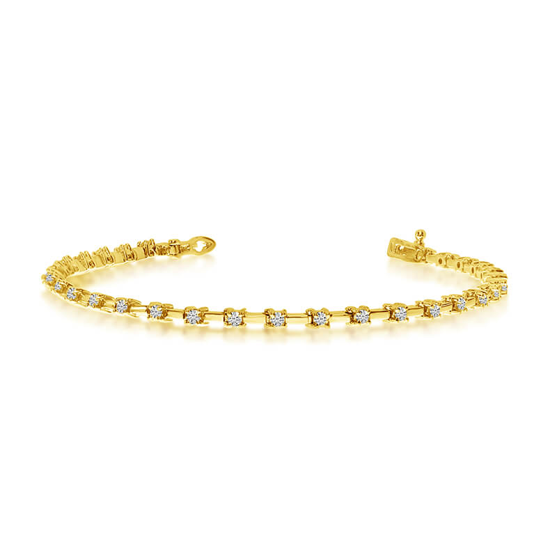14k Yellow Gold Diamond Petite Bar Tennis Bracelet