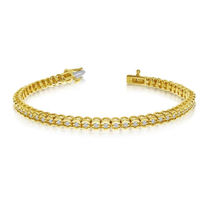 14k Yellow Gold Diamond Setback Bracelet