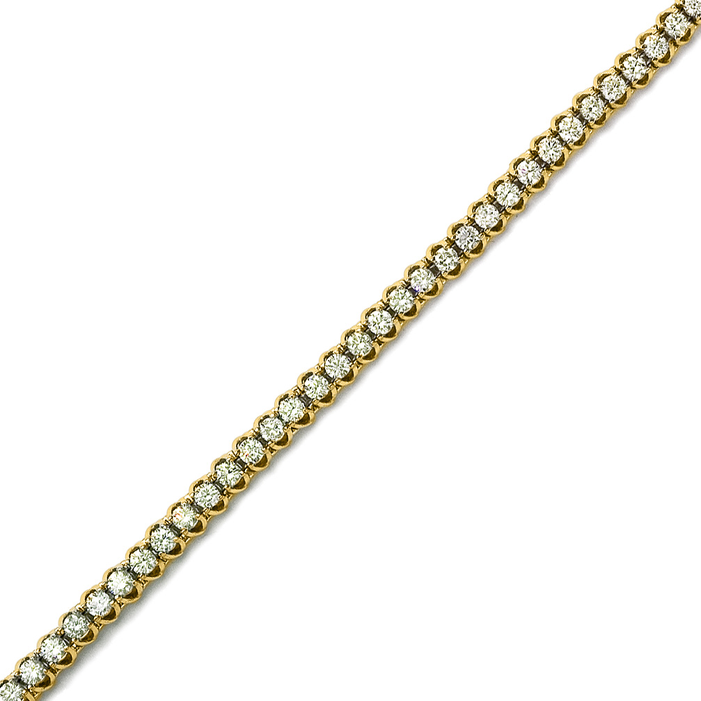 14K solid yelllow gold natural diamond bracelet. 4.00 carat total weight of diamonds.