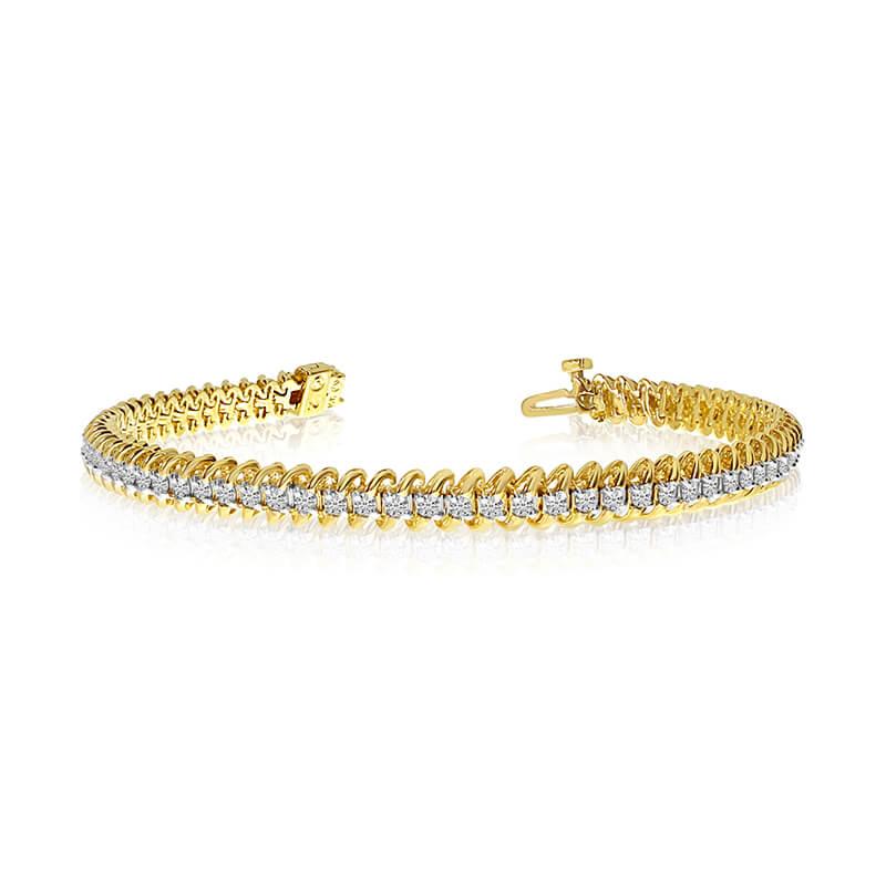 14k Yellow Gold S-Link Diamond Bracelet