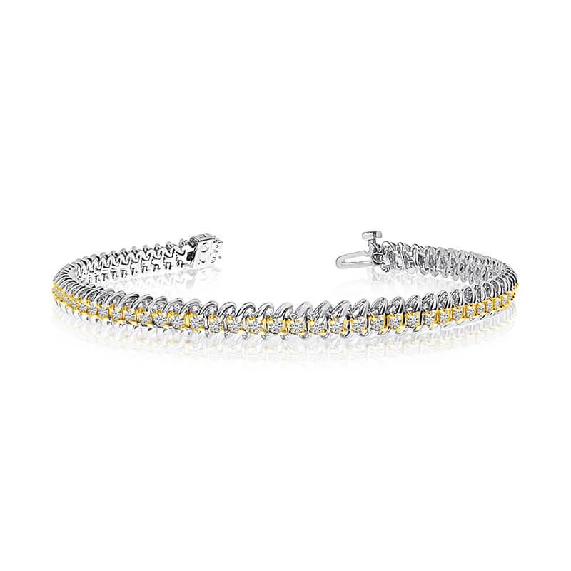 14k White Gold S-Link Diamond Bracelet