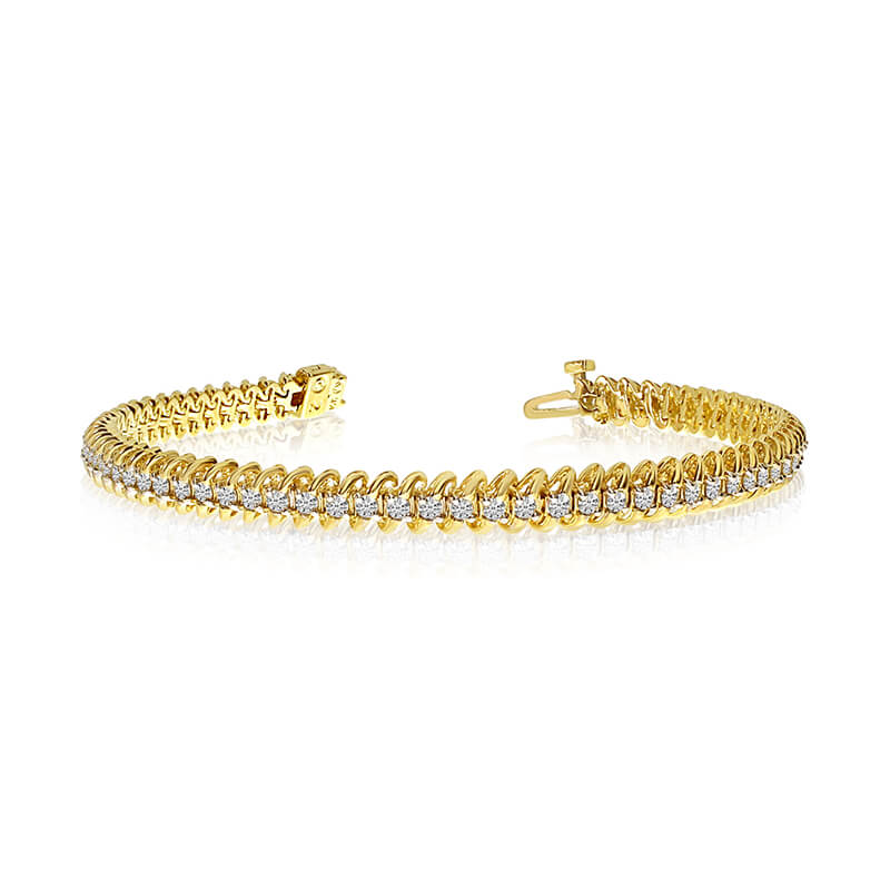 14K solid yelllow gold ''S'' natural diamond bracelet.  3.00 carat total weight o...