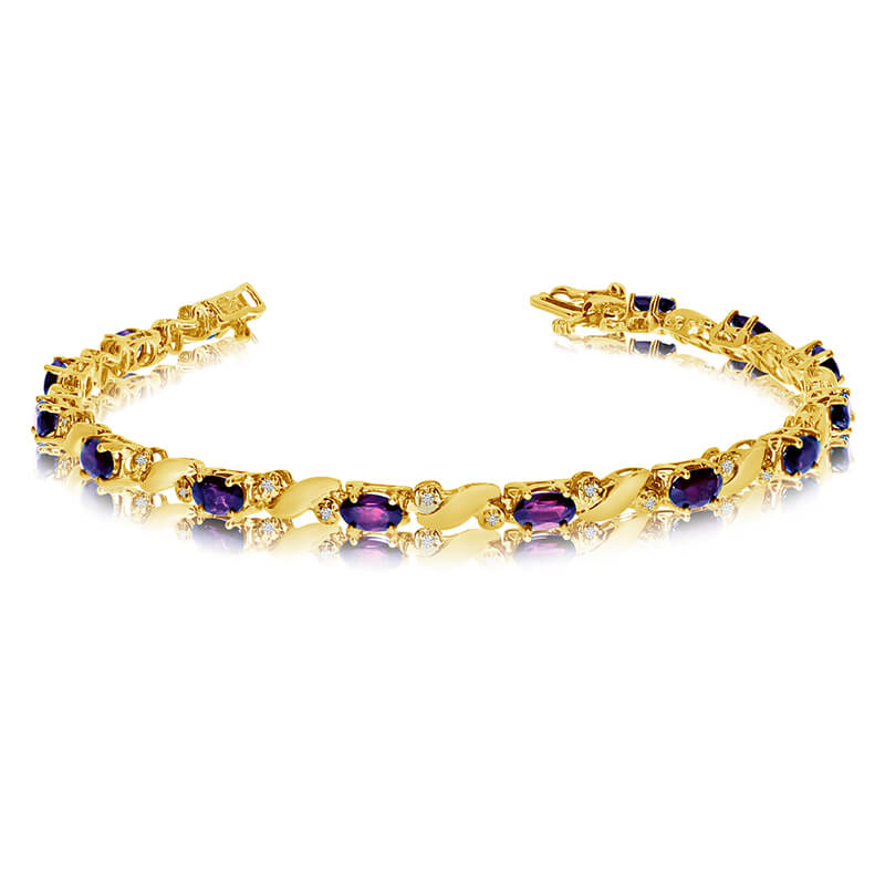 This 14k yellow gold natural amethyst and diamond tennis bracelet features 13 oval amethysts with...